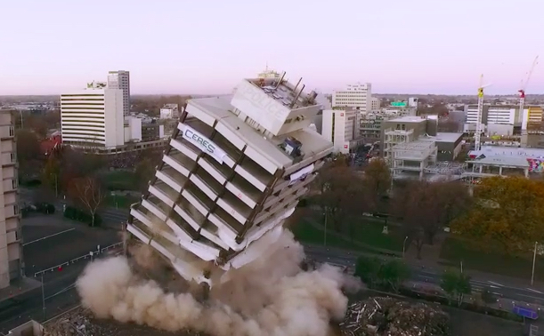 Christchurch Police Station Implosion Filmed With 3 Drones