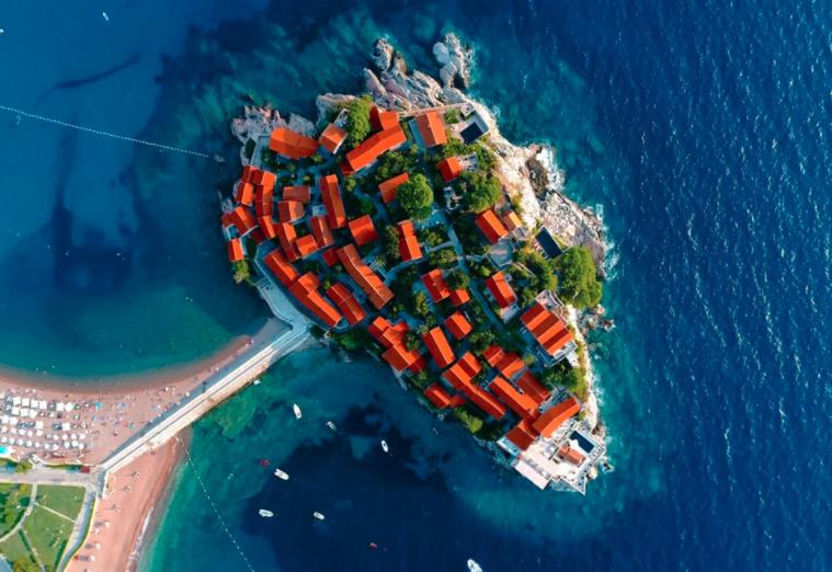 sveti stefan hotel dronestagram