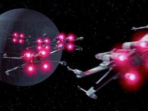 x wing vs drone death star