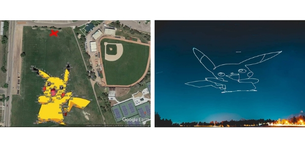 pikachu drones light the sky