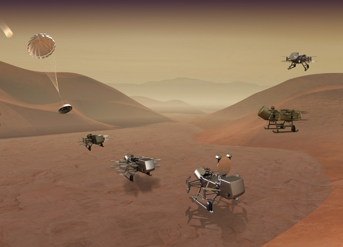 nasa drone mission to titan moon dragonfly project
