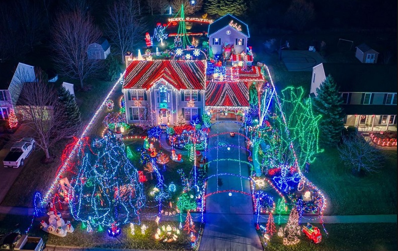 christmas lights drone photography